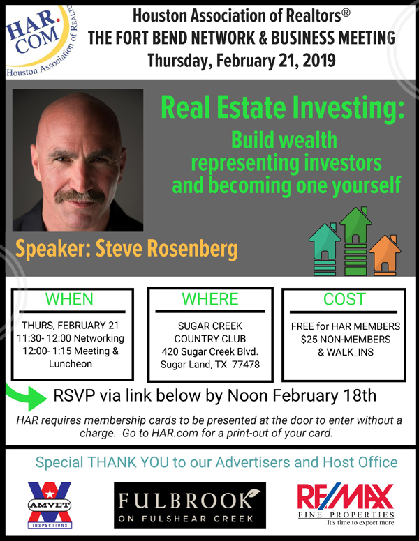 Steve Rozenberg speaking at HAR February 2019 event on Real Estate investing